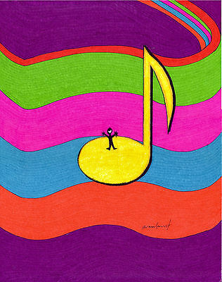 """ORIGINAL ART Signed Ink Drawing - Music Note on Staff """"A Cheery Note""""  11x14"""""""