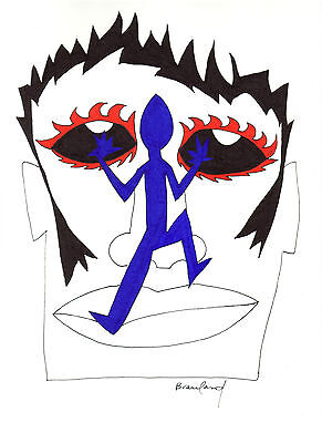 """ORIGINAL ART Signed Ink Drawing - Abstract - Blue Lizard on Man's Face  11x14"""""""
