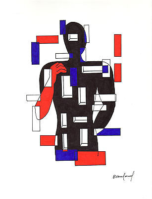 """ORIGINAL ART Signed Ink Drawing -- Abstract Man in City  11x14"""""""