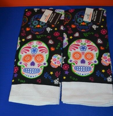 Lot of 2 Day of the Dead Sugar Skulls Kitchen Towels NEW