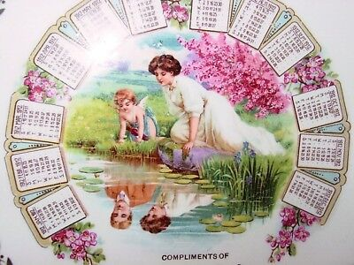 Antique1912 Adv.CalendarPlateMAIDEN&CHERUB,CLAREMONT NH MetropolitanShoeStore