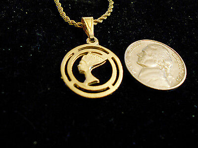 bling gold plated DEMONIC egyptian queen FASHION Charm Pendant chain Necklace GP