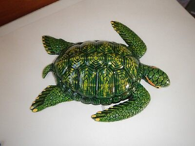 """Sea Turtle Wall Plaque Shades of Green w Yellow Plastic 7 1/2"""""""