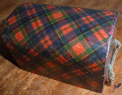 Antique McPherson TARTAN WARE Lidded Trunk with handles