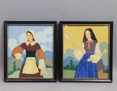 Vintage Early 20c Pair Traditional Russian Costume Paintings of Women