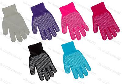 Childrens Gripper Gloves Boys Girls Kids Magic Stretch Rubber Grips Winter Warm