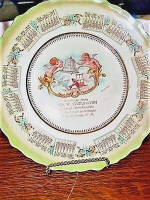 "Antique1910AdvertisingCalendarPlateCHERUBS 8 1/2""GEO.W.FARRINGTON,WEST RUMNEY,NH"