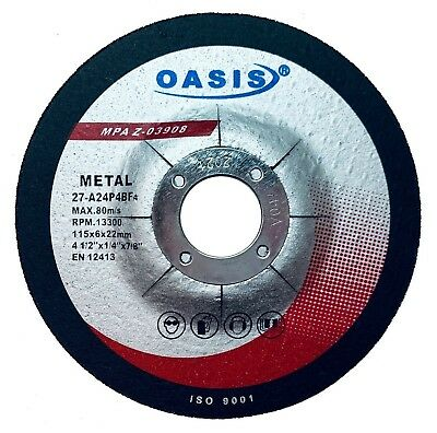 """10 Pack - OASIS 4.5"""" Grinding Wheels 4-1/2 Inch Angle Grinder Discs For Metal"""