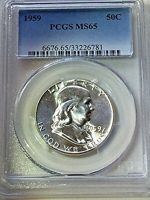 1959 Pcgs Ms65 Franklin Half Dollar / Free Shipping With Insurance!
