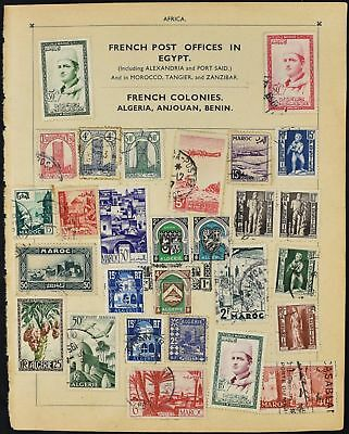 Morocco/Algeria/Cameroon Double Sided Album Page Of Stamps #V8038