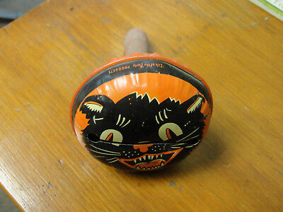Vintage Life Of the Party Deco Cat Halloween Noise Maker Tin Made In USA
