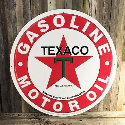 "Texaco Star Large 24"" Gasoline Oil Metal Tin Sign Texas Shop Garage Man Cave New"
