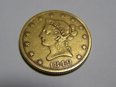 1849 $10 Liberty Gold Eagle VF (Rare in this condition) 170 years old