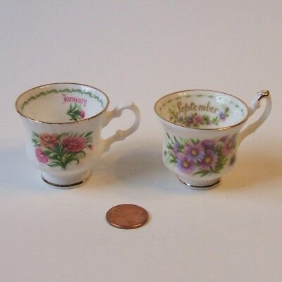 Royal Albert Queens China Flower of the Month Miniature Cups Teacups
