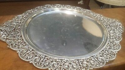 1585g STERLING SILVER EMBOSSED TRAY CENTER HEAVY CARVING COLONIAL STYLE