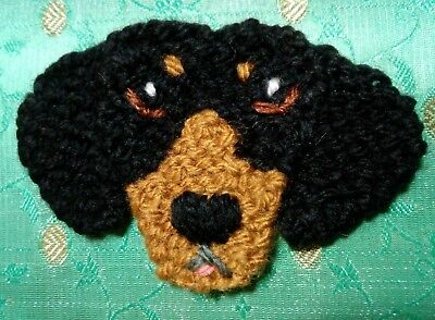 knitted dachshund brooch