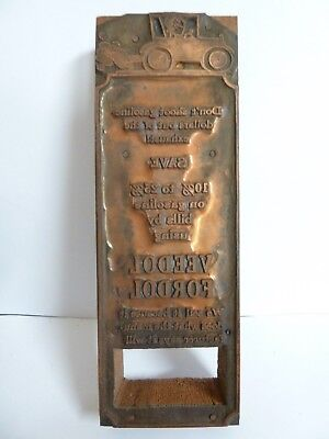 """1920s Antique FORD Veedol Fordol Oil Copper Newspaper Ad Printing Plate 2""""x6"""""""