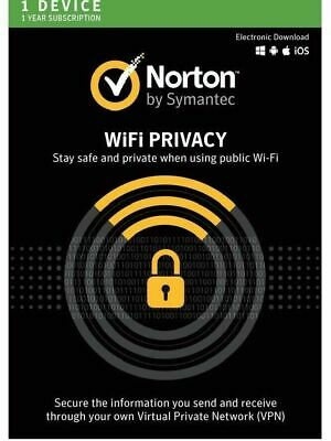 Norton Secure VPN (Norton WiFi Privacy) 2019 10 Devices 1 Year Delivery by Email