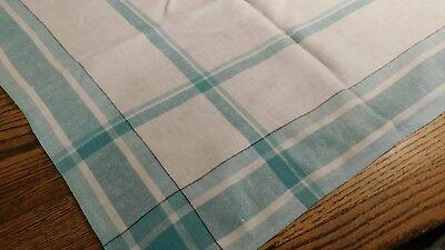 Vintage 50 Inch Sq.green White Linen Tablecloth Crafts Cutter Use As Is