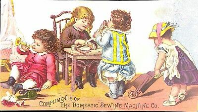 Vtg 1890's Trade Card - Domestic Sewing Machine Co. Children Playing Adorable