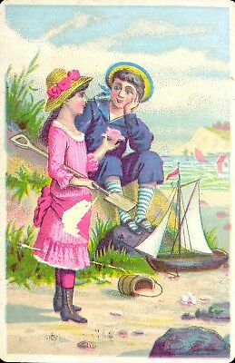 Vtg 1890's Trade Card - Lion Coffee Children by Seashore Toy Sailboat
