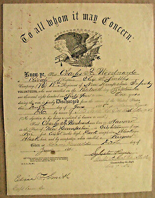 New Hampshire Civil War Discharge 18Th New Hampshire Infantry 1865