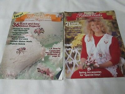 2 RIBBON WORKS MAGAZINES-The Timeless MAGIC of Ribbons- 57 QUICK AND EASY RIBBON