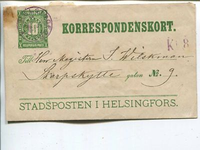 Finland Helsinki Local Mail 10p lettercard 1882