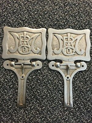 Pair Of Antique Monarch Wood Stove Nickel Plated Tea Shelves