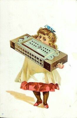 Vtg 1880's Trade Card - Hallett & Cumston Pianos Girl w/ Giant Harmonica Boston