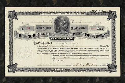 1907 COLORADO King Bee Gold Mining Company Stock RUSSELL DISTRICT Central City