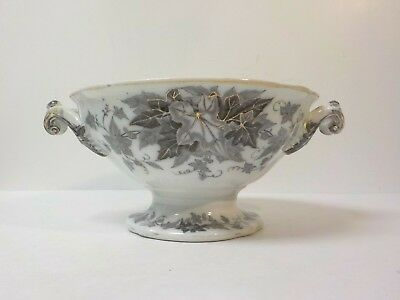 French Mulberry Transfer Ware BRYONIA Ironstone Tureen Base, Sarreguemines