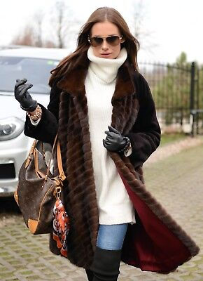 New 2019 Brown Royal Mink Fur Long Coat Class Sable Chinchilla Jacket Trench Fox