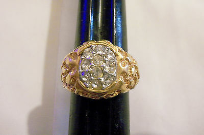 bling gold plated ICED OUT cz nugget cluster fashion men ring hip hop sz 10 DIY