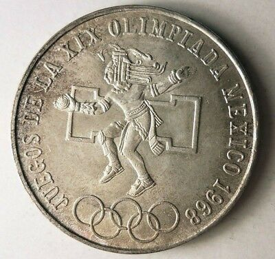 1968 MEXICO 25 PESOS - AU - Excellent One Year Crown Silver Coin - Lot #J18
