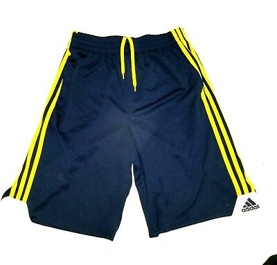 Boys Adidas Athletic Shorts Size Large 14/16 Navy / Neon Green MINT CONDITION