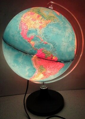 1982 RAND McNALLY Illuminated Physical/Political Globe Made in Italy