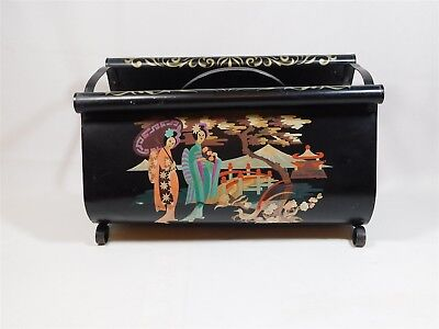 Vintage 1950s Black Metal Magazine Rack Asian Japanese Garden Hand Painted