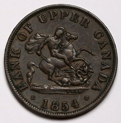 1854 Bank of Upper Canada Halfpenny Token / Coin Pistrucci's George & The Dragon