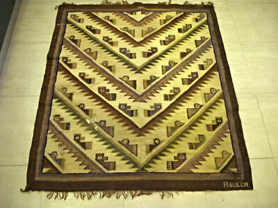 Vintage Alfonso Sulca Chavez Peruvian folk art woven tapestry rug  50x60 inches
