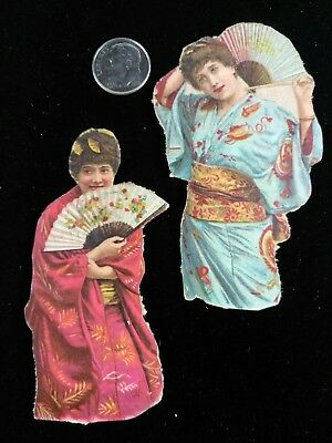 Vtg Victorian Die Cut Scrap-1880's-1890's Lot of 2 Asian Dressed Women w/ Fans