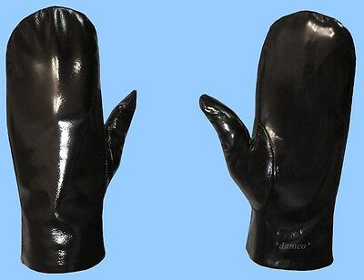 NEW MENS size 10 or 2XL GENUINE BLACK PATENT LEATHER MITTENS-RABBIT FUR LINING