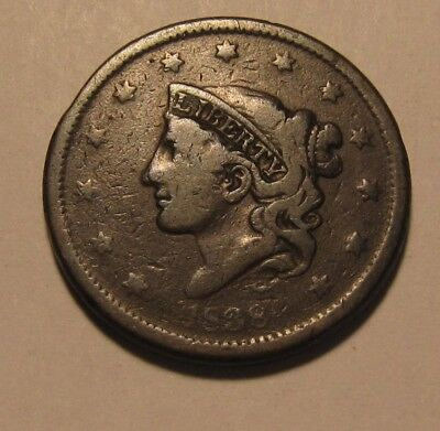 1838 Coronet Head Large Cent Penny - Circulated Condition - 44FR
