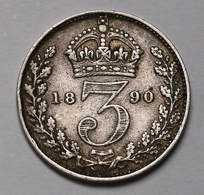 1890 UK Great Britain Silver Threepence Coin Queen Victoria KM# 758