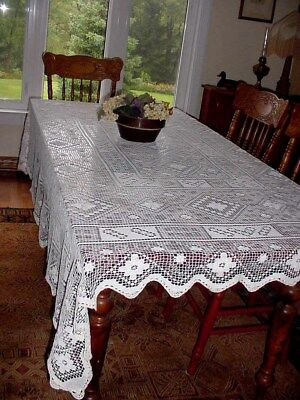 ANTIQUE FILET CROCHET TABLECLOTH  HAND CRAFTED ELEGANT - EARLY 1900's - 76 X 62