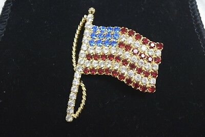 Ann Hand Collection Crystals American Flag Gold Tone Lapel Brooch Pin NEW w/Box
