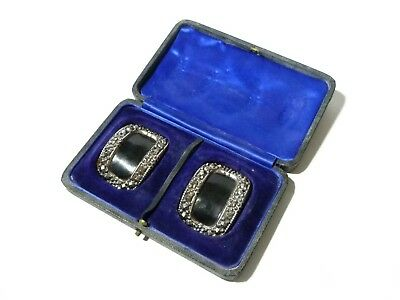 19thC Pair Sheriff's Shoe Buckles Polished Blued Steel in Original Leather Box