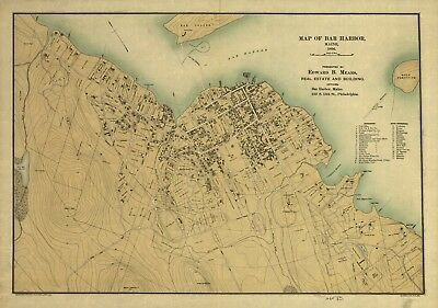 A4 Reprint of American Parks Islands Map Bar Harbor Maine