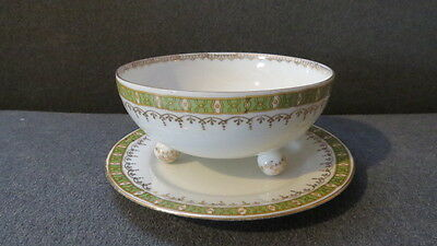 Antique Prussian China Porcelain Bowl & Underplate - Suhl Germany