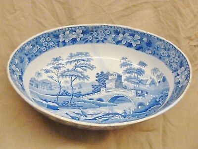 beautiful early spode 1820 oval bowl display piece much used georgian blue white